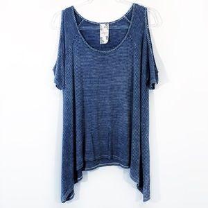 BLU PEPPER | open shoulder oversized tunic top